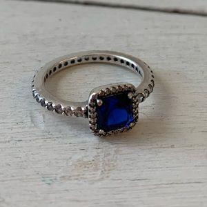 Pandora Blue Square Sparkle Halo Ring Size 6-6.5